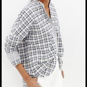 Madewell plaid cotton button Down blouse size M